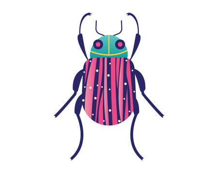 Wild organic wildlife, forest cockroach beetle isolated on white, icon cartoon vector illustration. Living nature animal, bug moth insect. Outdoor beetle deer up close, woodland life.  イラスト・ベクター素材