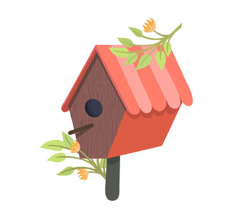 Decorative bird handmade house, home for wildlife character poultry isolated on white, cartoon vector illustration. Cozy blue nesting box, chick flight design outdoor forest birdhouse.