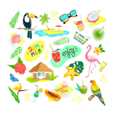 Cartoon tropical exotic elements vector illustration set. Flat collection with jungle bird, palm tree leaves and flowers, beach accessories. Exotica from tropics, floral animal icons isolated on white