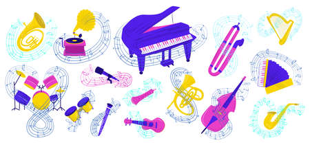 Musical instrument vector illustration set. Cartoon flat colorful collection acoustic icons for musician with notes, music group equipment. Saxaphone, guitar, drum kit, harp or piano isolated on white Vectores