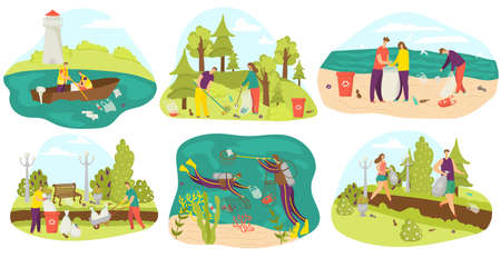 Environment and volunteers cleaning and gathering garbage in bags, in park, in sea set of flat vector illustrations. Ecology, waste and environment care, volunteering, recycle and clean green planet.
