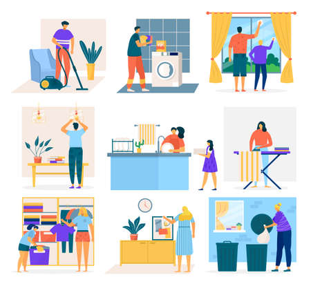 House cleaning and people doing housework, set of flat cartoon vector illustration. Men, women and children washing dishes, cleaning windows, vacuuming carpet, folding clothes, picking up garbage.