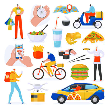 Food delivery service set of isolated on white vector illustrations, courier with fast food order shipping mobile app, delivering pizza on bicycle. Hamburger, drink and sushi food delivery collection.