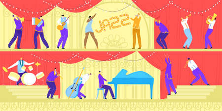 Jazz music band concert, musicians with musical instruments and singer, performance or festival horizontal banners vector illustration. Rock, classical, jazz music group show, guitarist, saxophonist.
