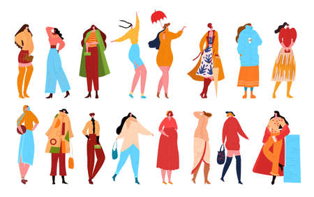 Woman fashion characters isolated on white flat vector illustration. Beautiful women in fashion clothes. Female characters with accessories. Ladies casual, fashionable elegant styles collection .
