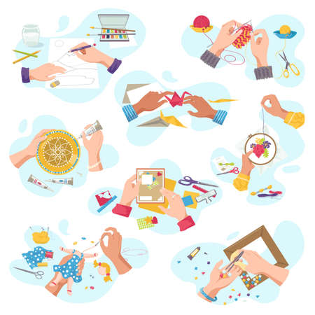 Art craft workshop for creative hobby, top view craftsman hands creat artistic handycrafts, isolated on white vector illustrations set. Cutting, painting and knitting, embroidery, applique, sawing.