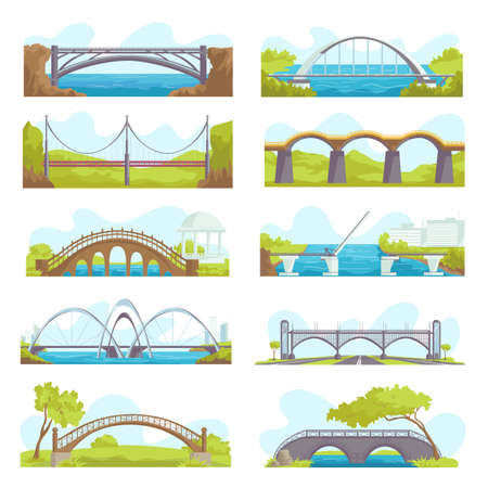 Bridges icons set of urban and suspension structure isolated vector illustrations. Bridged urban crossover architecture, bridge-construction for transportation, river bridge-building with carriageway.