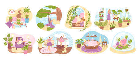 Set of women enjoying their free time, performing leisure activities and doing hobbies flat vector illustration. Woman enjoying dancing, cultivating home garden, meditating, taking bath, reading book.