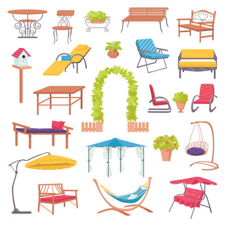 Outdoor furniture for garden set with green plants, chairs, armchairs, tables and sunshades for landscape design isolated vector illustration. Home outdoor furniture for relaxation in yard. Ilustração