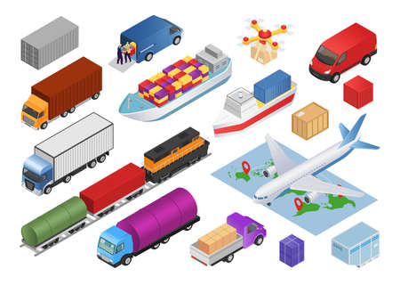 Logistics isometric set with transport cargo delivery 3d icons isolated vector illustrations. Transportation collection of truck, cars, airplane, business vehicles and train, bus, transporters. Ilustracje wektorowe