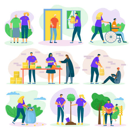 Volunteers help and charity set with people care, helping seniours, invalids and poor, social support flat isolated vector illustrations set. Volunteering in community, donation and voluntary.