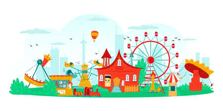 Amusement park with carousel and ferris wheel, fun festival and entertainment, attraction symbols isolated vector illustration. Circus, ferris in amusement park for kids for leisure and vacation. Иллюстрация