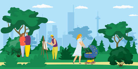 People walking outdoor in city park, young mother with pram, artist drawing picture and happy couple cartoon vector illustration. Fun, work and leisure in park in summer among trees. Иллюстрация