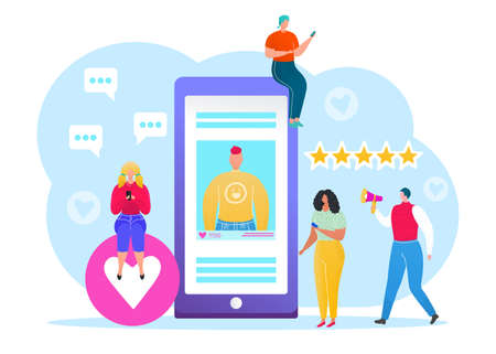 Social media concept, vector illustration of young people using mobile tablet and smartphone for sending posts and sharing them in social media. Global communication online, like, share symbols icons.