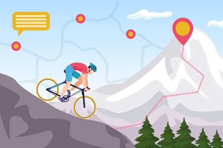 Mountain bike competition, biking extreme sport ride vector illustration. Downhill cycling. Man biker high jump on mountain with map signs, cycle race, nature adventure, athlete in helmet on bicycle.