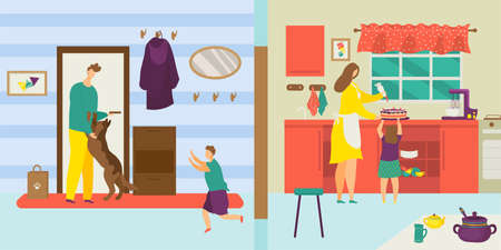 Family at home lifestyle, vector illustration. Father mother character with kid together, cartoon happy people life. Flat childhood in house, modern parenting with little fun children concept.