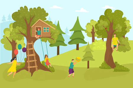 House tree in forest, cartoon childhood vector illustration. Home at green nature, happy girl boy near outdoors ladder to hut. Summer recreation and children play at swing in park.
