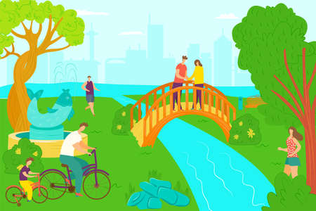 Park activity and happy leisure, vector illustration. Adult people at garden, summer walk on green grass nature. Lifestyle day walk, man woman ar flat outdoors beautiful river and tree.