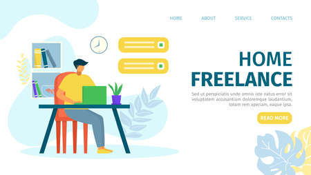 Home freelance landing vector illustration. Modern lifestyle template page, professionall work online at Internet. Man sitting at laptop. Comfortable workplace for creativity designer.