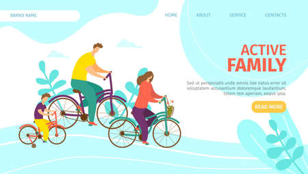 Active family landing vector Illustration. Parents with their child travel on bicycles. Summer outdoor recreation and joyful communication. Fun adventure in countryside at weekend, family together.
