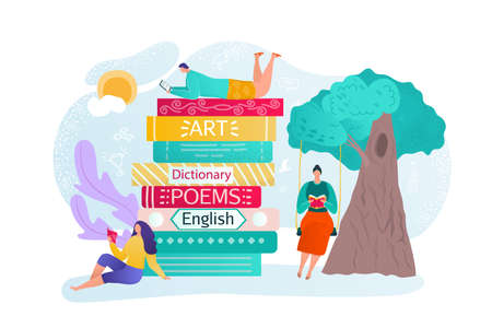 Book education, people friends read and learn together vector illustration. Fairy tale library with relaxing young man woman. Character reading book and conversation at flat nature. 일러스트