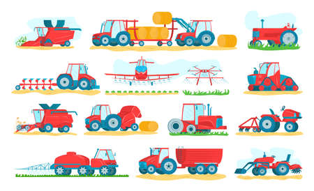 Agricultural machinery set of isolated on white vector illustrations. Agriculture vehicles and farm machines. Tractors, harvesters, combines. Farming and agribusiness of crop and harvest equipment.