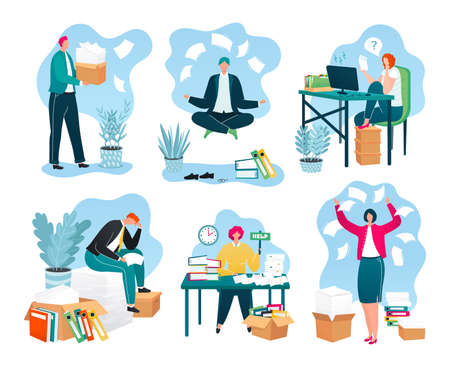 Business papers in office, piles of documents, reports on workplace, paperwork set of vector illustrations. Businessman with huge pile of paper work. Overloaded workers and bureaucracy.