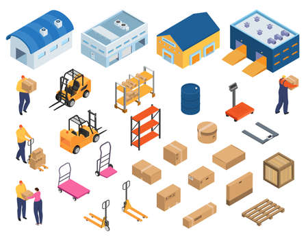 Isometric warehouse, industrial equipment for storage and distribution, set of isolated vector illustrations. Forklifts carrying pallets with boxes, storehouse shelves, warehouse workers, buildings.