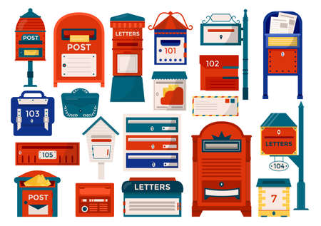 Mailboxes, letter boxes, pedestals for sending and receiving letters, correspondence, newspapers, magazines isolated vector illustration set. Postal mail box, letters mailing delivery service.