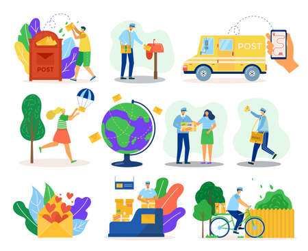 Mail delivery service, courier in uniform with packadge, clients isolated vector illustration. Delivering transport, postman on bike, mailbox, global shipping and order correspondance online.