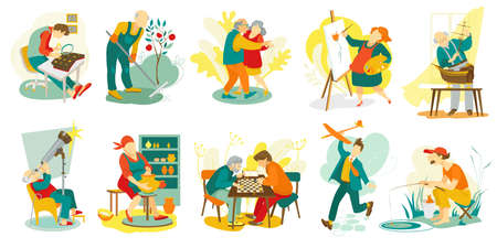 People hobby, creative artistic man and woman characters doing favorite things, set of vector illustration. Art, music, chess playing, dance leisure and recreation for senior. Drawing, sculping hobby.