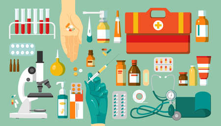 Pharmacy and medications, drugs set of icons, isolated vector illustrations. Medical objects, medicine in pharmaceutics concept. Pills, medicaments, microscope and medics bag, bottles.