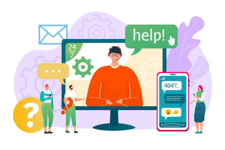 Business customer help service, vector illustration. Online support assistant at smartphone, man in headset call center. Assistance chat with client, internet hotline phone for people. Vector Illustratie