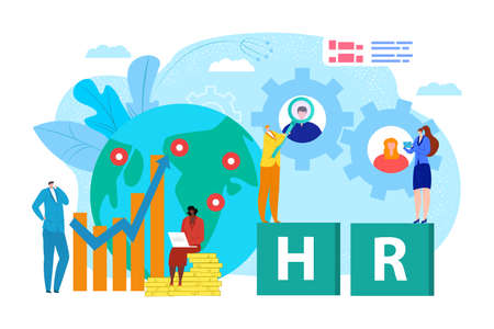 Business people at world map, search job recruitment and company employment vector illustration. Global worker human resources with glass design concept. Network candidate businessman choice.
