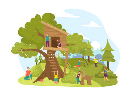 Children activity in park, summer wood tree house childhood vector illustration. Nature cartoon treehouse building landscape, boy girl play. Green garden for kids, cute outdoors playground. Vettoriali