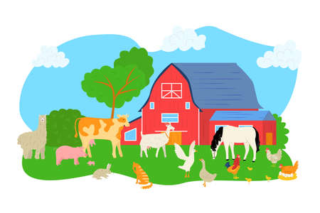 Cartoon pig, sheep, horse, cow at farm vector illustration. Animal at nature landscape, barn for chicken rooster background. Agriculture rural character at grass, graphic dog and goat.