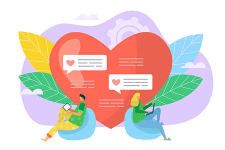 Online love communication, dating in social network vector illustration, Man woman near huge heart symbol, people have relationship chat in internet. Romance message technology for couple concept.