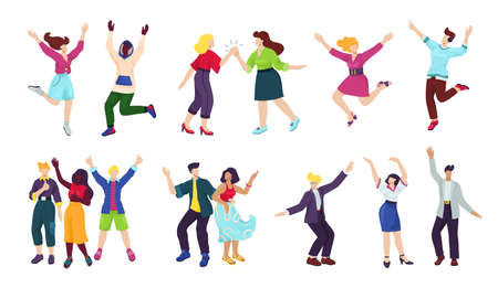 Happy young people isoated on white set of vector illustrations. Happiness, freedom, motion, diversity and people together concept. Group of happy smiling men and women jumping, having fun poses.