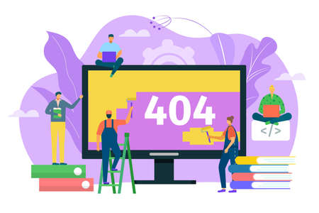 404 error web page design concept, warning sign vector illustration. Laptop screen with error. Small people repair site with problem. Webpage not found, 404 site search alert symbol. Ilustración de vector