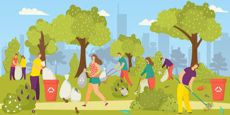 Cleaning environment, team of volunteers picking up garbage, litter in park into trash bags, vector illustration. Social volunteering for nature. Enviromental ecology, environment-oriented charity.