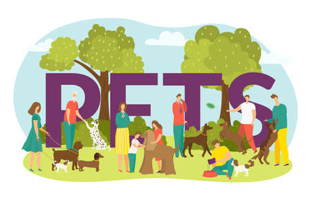 Happy owners with dogs, cute puppies domestic animals and lettering pets vector illustration isolated. Man and woman walking with dog outdoors at park, children with pet friend in summer time.