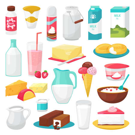 Milk and diary products food isolated on white illustrations set. Healthy cheese, milk bottles, ice cream, yogurt. Milky cream, milkshake, cheese cake for breakfast, organic natural butter.