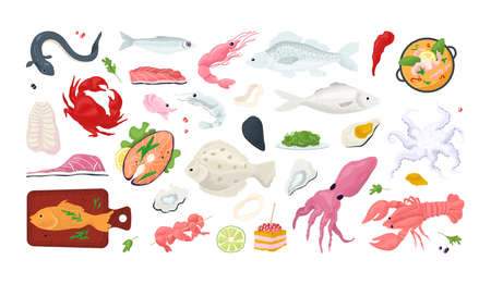 Seafood fish menu restaurant icons set with sea food, crab, shrimps, shell l isolated vector illustration. Shellfish, octopus, squid, oyster and salmon slice. Gourmet seafood meal market.  イラスト・ベクター素材