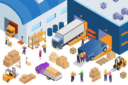 Isometric warehouse storage and industrial equipment, 3d vector illustration. Forklift carrying pallets with boxes, storehouse shelves, cargo trucks, warehousemen. Wares delivery and transportation.
