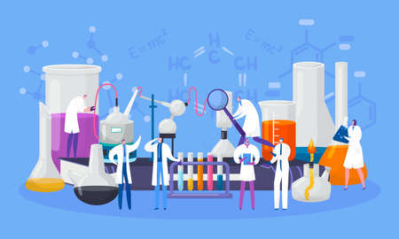Scientists characters in chemical laboratory conduct experiment in science, vector illustration. Scientifical research, lab with flasks and microscopes, tubes. Chemistry and biology, education. Illustration