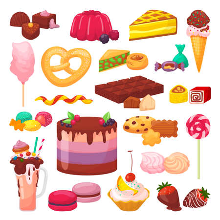 Sweet desserts set of isolated vector illustrations. Cake with cream, chocolate, pastry, bakery and desserts, donut, cupcake, macaroon. Eclair, pie, muffin or candies, jelly cookies collection 矢量图像