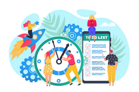 Time management concept, efficient use of time for implementation of business plan vector illustration. Clock, agenda and shedule in phone app for time organisation. Office managers planning tasks.