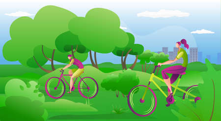 People ride on bikes outdoors in summer, vector illustration. Happy couple riding bicycles outside, healthy lifestyle fun concept. Active man and woman cyclists doing sport and leisure.