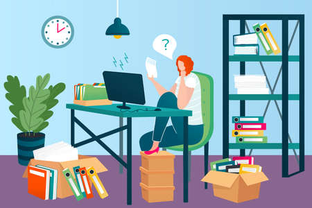 Business papers in office, documents and folders on workplace and working woman vector illustration. Files stacking up in order. Desk with paper reports, financial data. Businesswoman at work place. Ilustrace