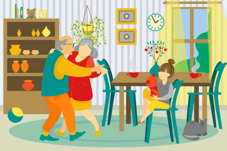 Family at home together vector illustration. Grandmother and grandfather dancing, granddaughter girl playing in living room. Family every day life. Happy family lifestyle.